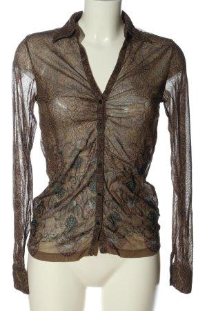 Mexx Langarmhemd braun Motivdruck klassischer Stil