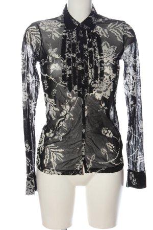 Mexx Langarmhemd schwarz-weiß Allover-Druck Casual-Look