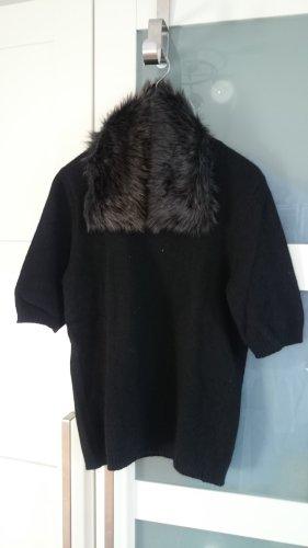 Mexx Metropolitan Pullover schwarz, 3/4-Arm, mit abnehmbarem Pelzkragen, Gr. S