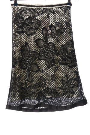 Mexx Spódnica midi czarny-biały Wzór w kwiaty Elegancki