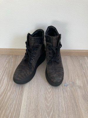 Mexx Plateau Stiefelette Boot schwarz braun Leder Gr. 40