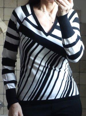 Mexx, Pulli, Streifen, weiß, schwarz, Baumwolle, V-Ausschnitt, tailliert, figurbetont, Langarm, 69% Baumwolle, Rippbündchen am Ärmel, neuwertig, Gr. S