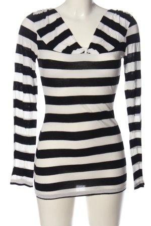 Mexx Camisa de rayas blanco-negro estampado repetido sobre toda la superficie