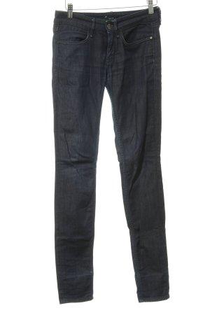 Mexx Skinny Jeans dunkelblau Logo-Applikation aus Leder