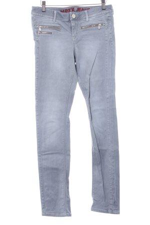Mexx Slim Jeans grau Schriftzug gestickt Logo-Applikation aus Leder