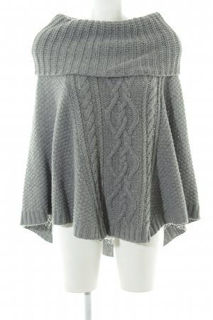 Mexx Knitted Poncho light grey cable stitch casual look