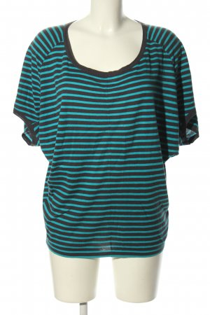 Mexx Knitted Jumper turquoise-black striped pattern casual look