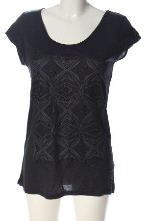 Mexx Strickshirt schwarz-hellgrau Motivdruck Casual-Look