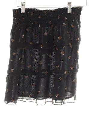 Mexx Jupe superposée noir-chameau motif de fleur style décontracté
