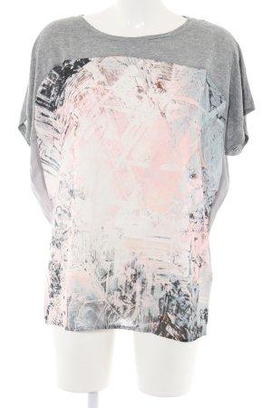 Mexx T-Shirt hellgrau-pink abstraktes Muster Casual-Look