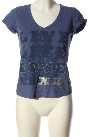 Mexx T-Shirt blau-silberfarben Motivdruck Casual-Look