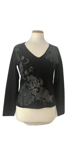Mexx, T-Shirt, langarm, schwarz, print, strass, stretch, Gr. M neu