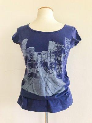 Mexx T-Shirt, Rundhals T-Shirt, Frontprint, blau lila grau, Gr. 38 / M