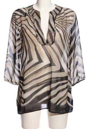 Mexx Transparent Blouse brown-black abstract pattern business style