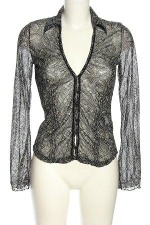 Mexx Transparenz-Bluse schwarz-weiß Allover-Druck Casual-Look