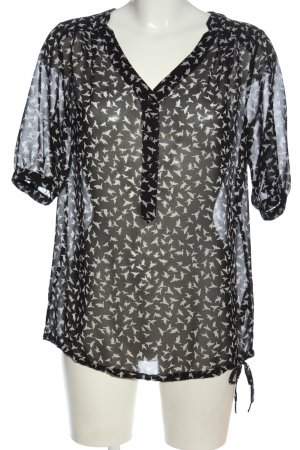Mexx Transparenz-Bluse schwarz-weiß Motivdruck Casual-Look
