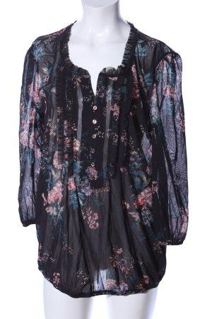 Mexx Transparenz-Bluse schwarz-pink Blumenmuster Casual-Look