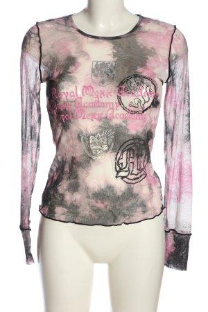 Mexx Transparenz-Bluse schwarz-pink grafisches Muster Casual-Look