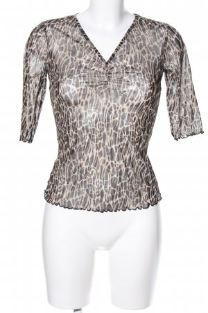 Mexx Transparenz-Bluse braun-wollweiß Allover-Druck Street-Fashion-Look