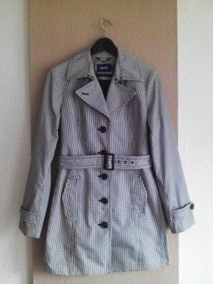 Mexx Trenchcoat in schwarz-weiß Karomuster, Größe 38, neu