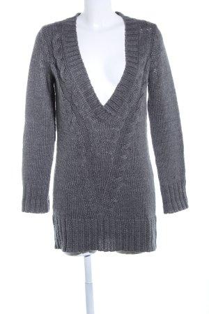 Mexx V-Ausschnitt-Pullover hellgrau Zopfmuster Casual-Look