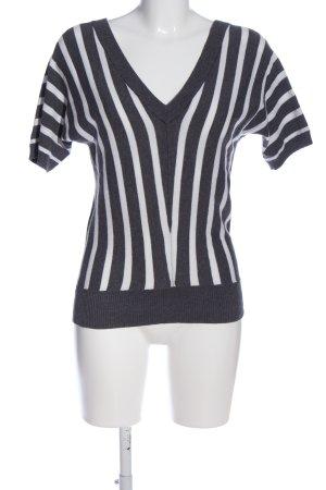 Mexx V-Ausschnitt-Pullover schwarz-weiß Streifenmuster Casual-Look