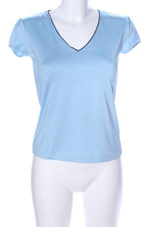 Mexx V-Ausschnitt-Shirt blau Motivdruck Casual-Look