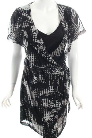 Mexx Wickelkleid weiß-schwarz abstraktes Muster Casual-Look