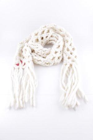 Mexx Écharpe en laine blanc cassé torsades style décontracté