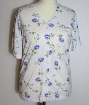 Meyer Mode Bluse Oberteil Größe 46 Blaue Rosen