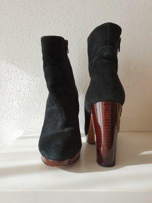 Mia Jahn Luxus Designer 36 Plateau Veloursleder Leder Stiefel Stiefeletten Booties Boots