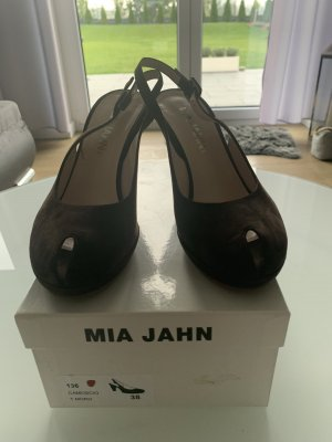 Mia Jahn Sandalias de tacón con plataforma marrón Cuero