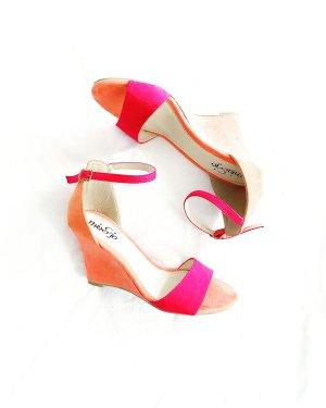 mia & jo • keilabsatz sandalen • veloursleder • aprikose • pink