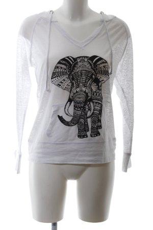 Miami Style Top à capuche gris clair-noir imprimé allover style décontracté