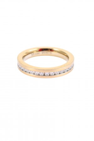Miami White Ring with Decorative Stone gold-colored elegant