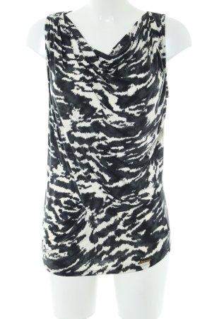 Michael Kors ärmellose Bluse schwarz-weiß abstraktes Muster Casual-Look