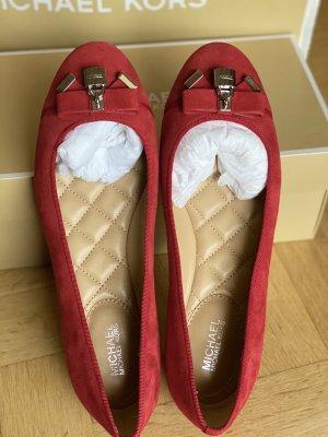 Michael Kors Alice Ballet Suede Leder Rot Gr.37