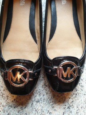 Michael Kors Lakierowane baleriny czarny-srebrny