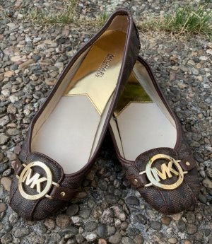 Michael Kors Foldable Ballet Flats black brown leather