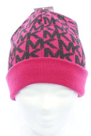 Michael Kors Beanie pink-schwarz Allover-Druck Casual-Look