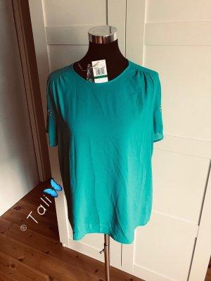 Michael Kors Bluse Top Shirt  Türkis HellBlau Silber  L 40 10