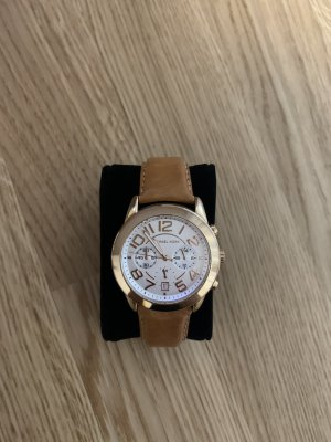 Michael Kors Watch With Leather Strap brown-cognac-coloured leather