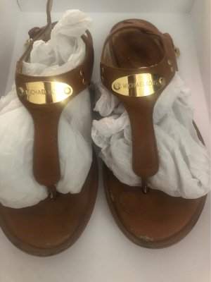 Michael Kors High-Heeled Toe-Post Sandals cognac-coloured-gold-colored