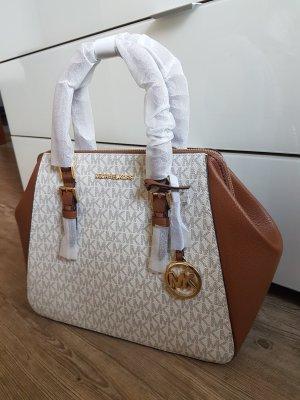 Michael Kors Charlotte LG Handtasche Tasche Vanilla braun Creme neu