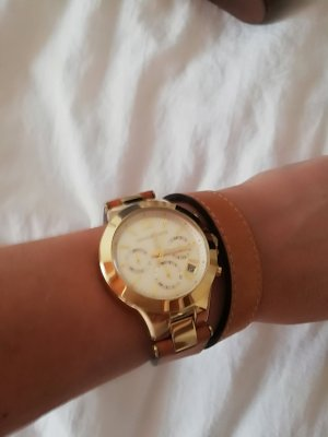 Michael Kors Watch With Leather Strap sand brown