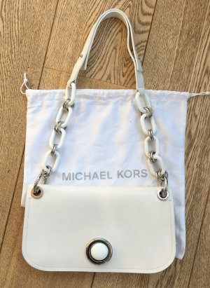 * MICHAEL KORS COLLECTION * CLUTCH SCHULTERTASCHE LEDER weiß KETTE