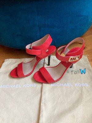 Michael Kors Sandalo con cinturino rosso-oro Pelle
