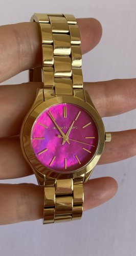 Michael Kors Damen Armbanduhr analog Gold Pink Rosa wie Neu