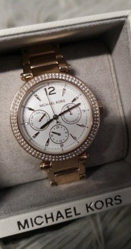 Michael Kors Damen Armbanduhr Watch Gold Roségold Weiß Gliederarmband