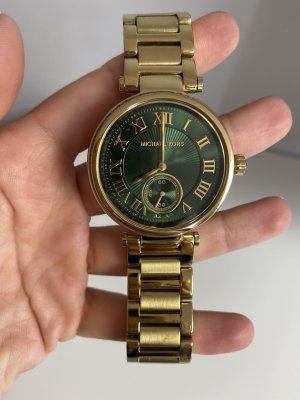 Michael Kors Watch With Metal Strap gold-colored-forest green mixture fibre
